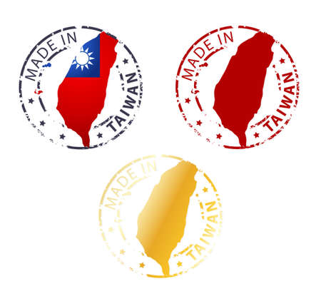 made in Taiwan stamp - ground authentic stamp with country map