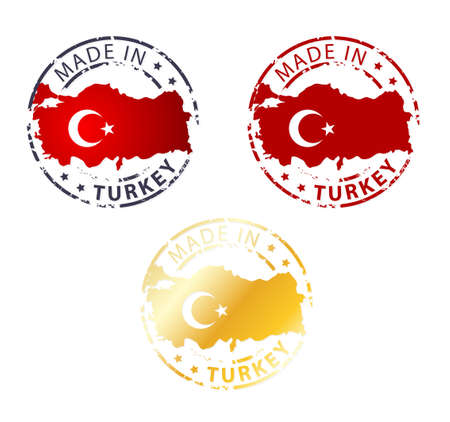 made in Turkey stamp - ground authentic stamp with country map Vector