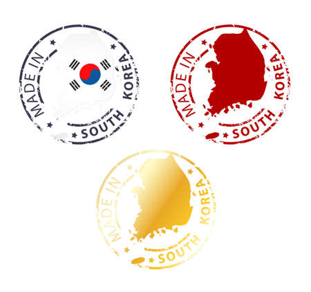 korea: Made in South Korea stamps Illustration