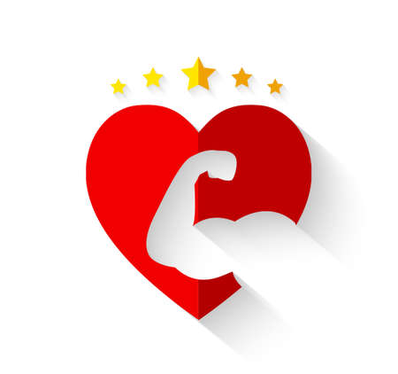 Muscular arm on heart shape with crown of stars and long shadow