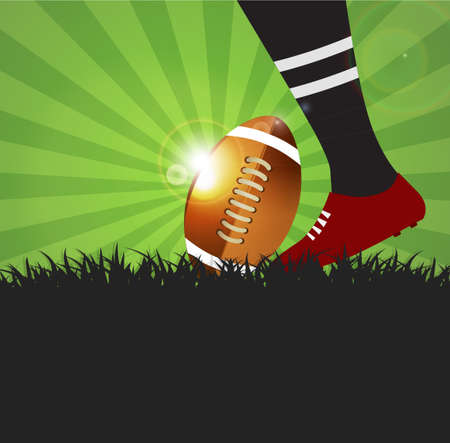 playoff: Football or rugby player with ball on grass  background