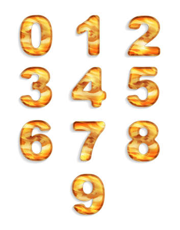numbers icon: Numbers icon set with wood texture isolated on white background