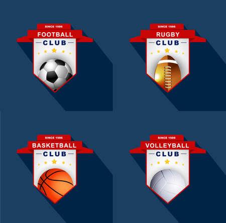 campeonato de futbol: Etiquetas de Deportes, emblema Vectores