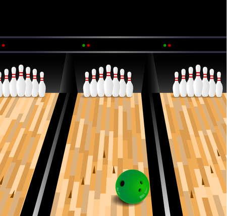 kegelen: Bowling bal en kegel op houten vloer