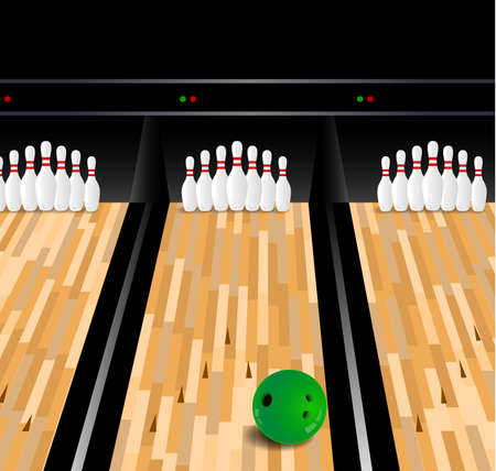 floor ball: Bowling ball and skittle on wooden floor Illustration