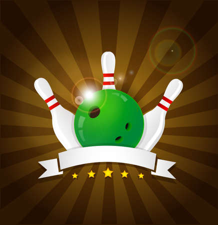 bowling strike: Bowling ball with skittles and white label