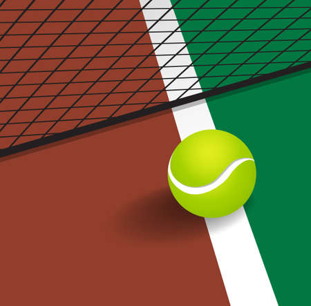 tennis net: Tennis Ball on court corner line Illustration