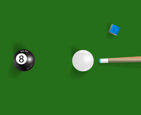pool cue: Pool table background with white and black  pool ball, chalk and cue Illustration