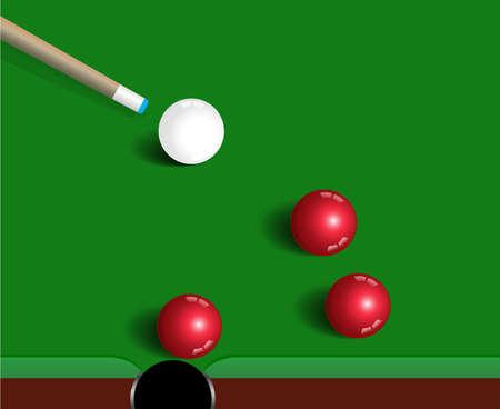 snooker table: Snooker balls on green snooker table, sport game background Illustration