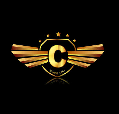 shield with wings: Letter C winged crests logo . Alphabet logotype design concept Illustration