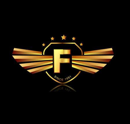 Letter F winged crests logo . Alphabet logotype design concept Illustration