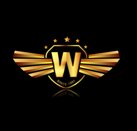 shield with wings: Letter W winged crests logo . Alphabet logotype design concept Illustration