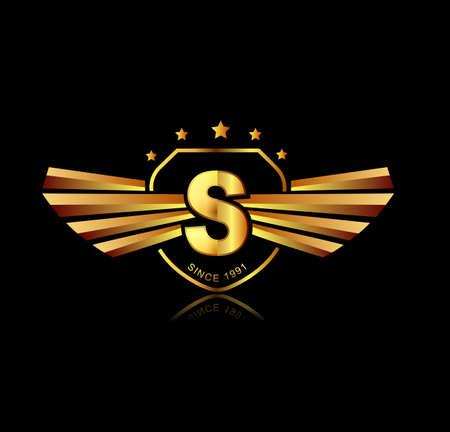 文字 S 翼の頂上のロゴ。アルファベット ロゴタイプ デザイン コンセプト  イラスト・ベクター素材