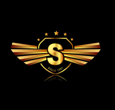 Letter S winged crests logo . Alphabet logotype design concept Illustration