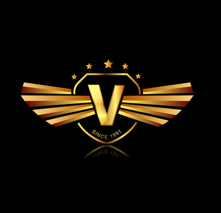 v shape: Letter V winged crests logo . Alphabet logotype design concept