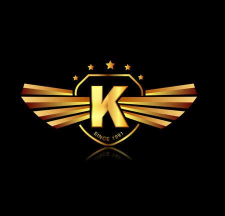 Letter K gevleugelde toppen logo. Alfabet logo design concept