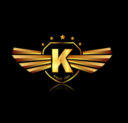 Letter K winged crests logo . Alphabet logotype design concept