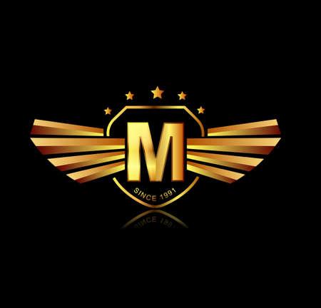 metal shield: Letter M winged crests logo . Alphabet logotype design concept