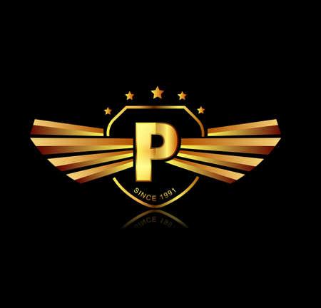 Letter P winged crests logo . Alphabet logotype design concept Ilustrace