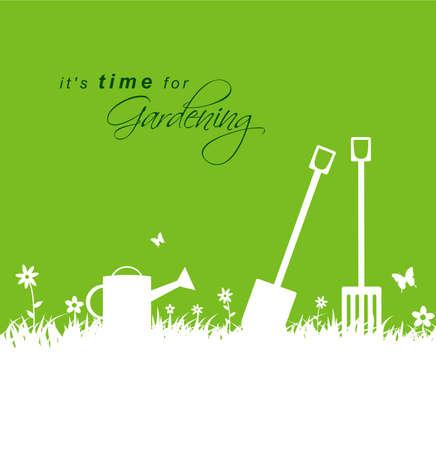 jardinero: Es hora de que la jardinería .spring fondo jardinería con pala, rastrillo y regadera