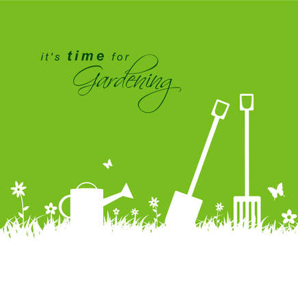 garden design: Its time for gardening .Spring gardening background with spade, rake and watering can