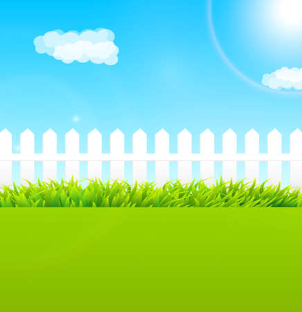 tranquil scene: Summer garden scene with wooden fence and blue sky - Useful as background