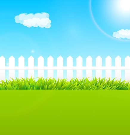 zomertuin: Zomertuin scène met houten hek en blauwe hemel - Nuttig als achtergrond Stock Illustratie