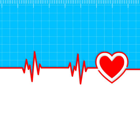 electrocardiograph: Electrocardiogram with heart silhouette and copy-space.Useful as medical background