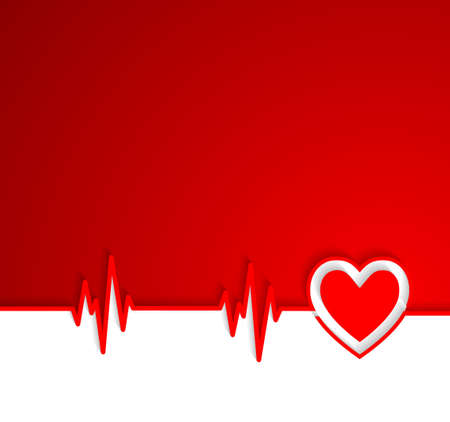 oscillate: Heart beat cardiogram with heart shape Illustration