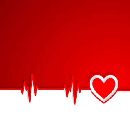 Heart beat cardiogram with heart shape Illustration