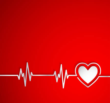 ekg: Heart beat with heart shape.Useful as medical background