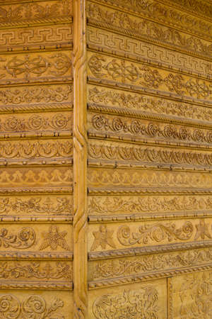 woodcutting: Ornamental Carvings on the wall of monasteries in Bucovina