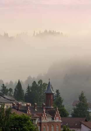 roofed house: Roofed houses scene in the mountain fog.Vladimir house from Vatra Dornei