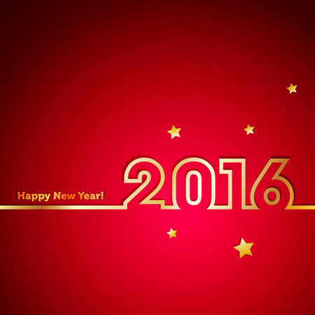 new year greetings: Golden 2016 New Year with stars on red background
