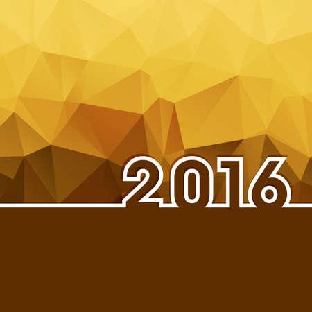 nouvel an: 2016 Nouvel An sur fond polygonale or avec copie espace