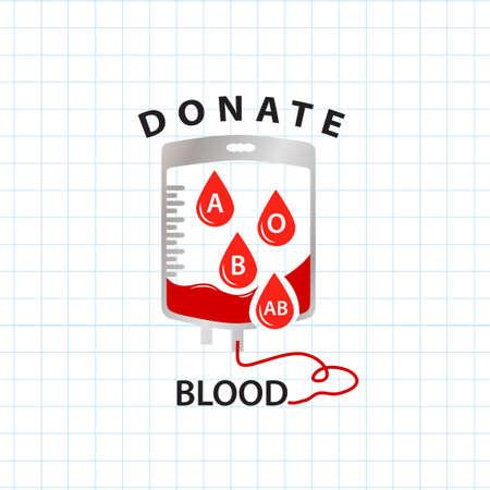 blood type: Donar sangre concepto con la bolsa de sangre y soltar el tipo de sangre