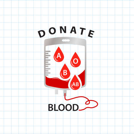 blood type: Donate blood  concept with bag blood and drop blood type