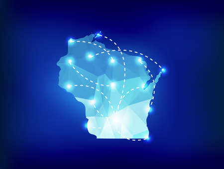state of wisconsin: Wisconsin state map polygonal with spotlights places