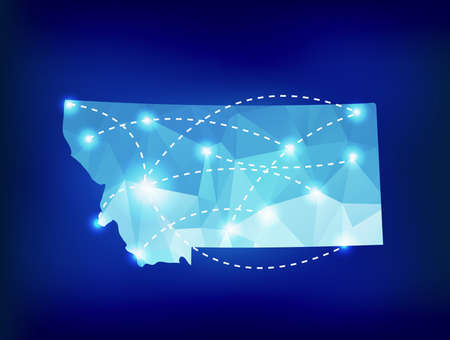 las vegas lights: Montana state map polygonal with spotlights places Illustration
