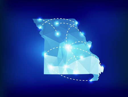 jefferson: Missouri state map polygonal with spotlights places