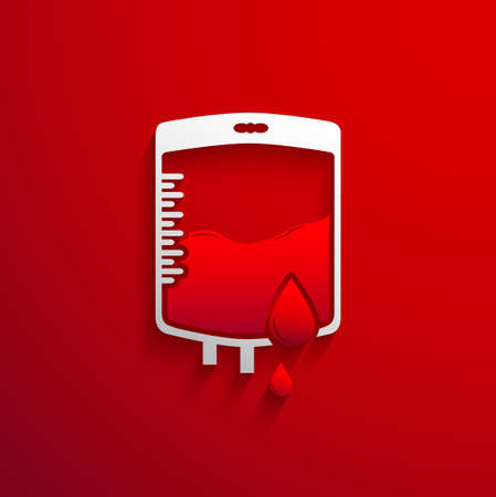 donor blood type: Bag Blood Donation concept with red blood drop and shadow effect on red background Illustration