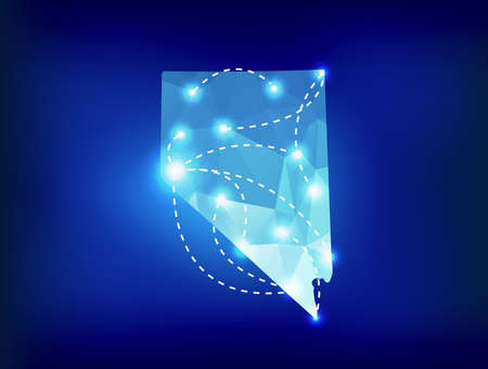 carson city: Nevada state map polygonal with spotlights places