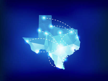 Texas state map polygonal with spotlights places Stock Illustratie