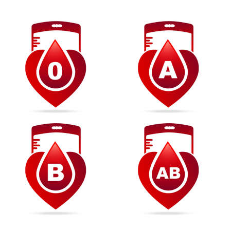 transfuse: Blood type.Creative blood groups showing in a hearts shape with red blood drops and bag blood