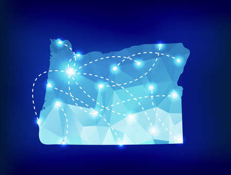 state of oregon: Oregon state map polygonal with spotlights places