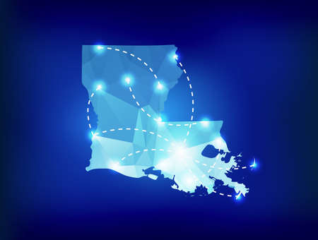 baton rouge: Louisiana state map polygonal with spotlights places Illustration
