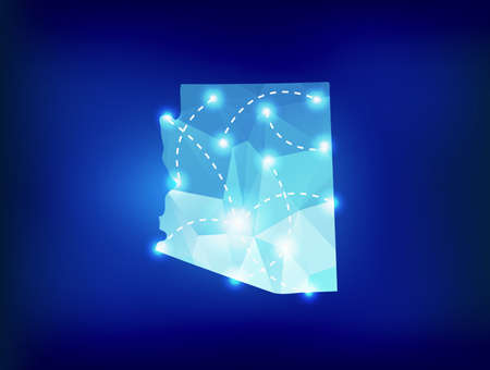 Arizona state map polygonal with spotlights places Illustration