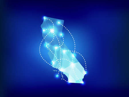 California state map polygonal with spotlights places Ilustração