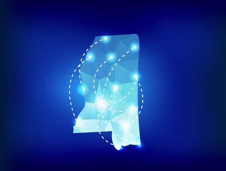 spot lights: Mississippi state map polygonal with spot lights places