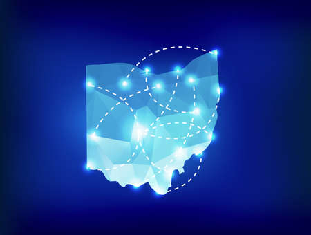 spot lights: Ohio state map polygonal with spot lights places Illustration